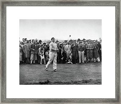 Lawson Little Holding A Golf Club Framed Print by  International News Photos
