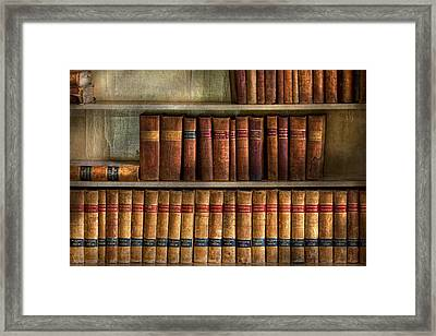 Lawyer - Books - Law Books  Framed Print by Mike Savad