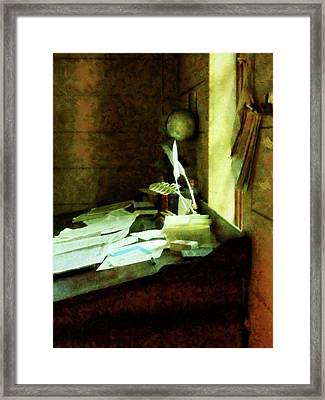 Lawyer - Desk With Quills And Papers Framed Print by Susan Savad