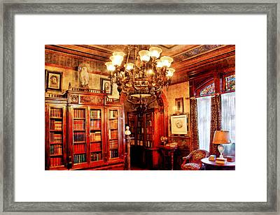 Lawyer - In The Library Framed Print by Mike Savad