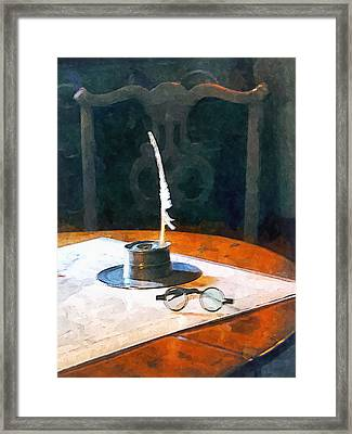 Lawyer - Quill And Spectacles Framed Print by Susan Savad