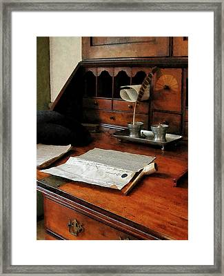 Framed Print featuring the photograph Lawyer - Quill Papers And Pipe by Susan Savad
