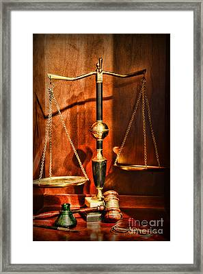 Lawyer - Scales Of Justice Framed Print by Paul Ward