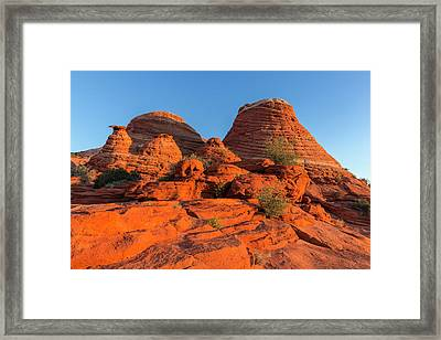 Layered Sandstone And Desert Framed Print by Chuck Haney