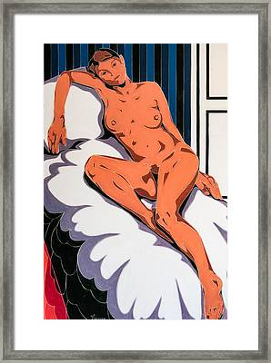 Laying Nude Framed Print by Varvara Stylidou