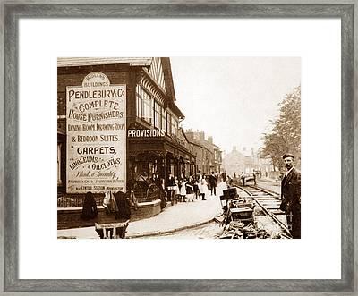 Laying Tram Tracks London Road Warrington England Framed Print by The Keasbury-Gordon Photograph Archive