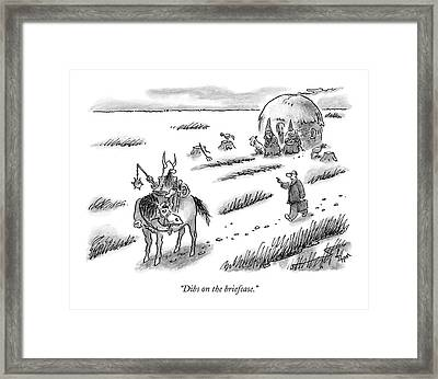Laywer Chasing After A Barbarian Framed Print