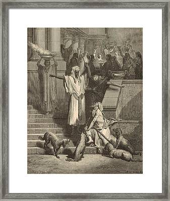 Lazarus And The Rich Man Framed Print by Antique Engravings