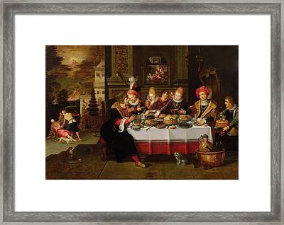 Lazarus And The Rich Mans Table From Luke Xvi Panel Framed Print by Kasper or Gaspar van den Hoecke