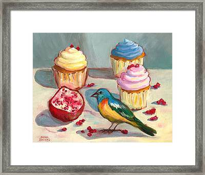 Lazuli Bunting And Pomegranate Cupcakes Framed Print by Susan Thomas