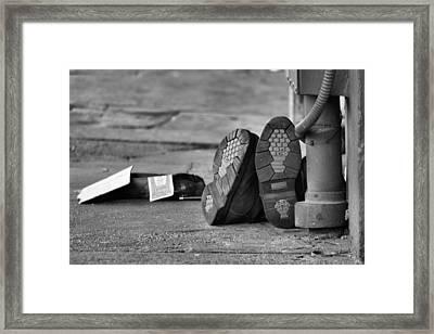 Lazy Beggar In Black And White Framed Print by Nadalyn Larsen