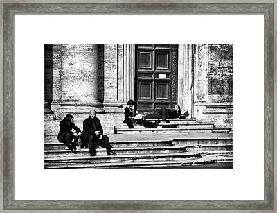 Lazy Day In Roma Framed Print by John Rizzuto