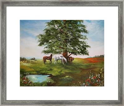 Framed Print featuring the painting Lazy Days In Summer by Jean Walker
