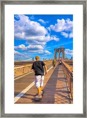 Lazy Days - Skateboarding On The Brooklyn Bridge Framed Print