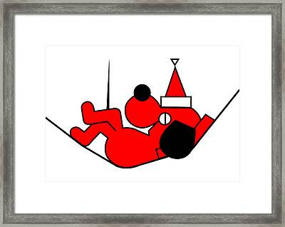 Lazy Red Dog Wishes You A Merry Christmas Framed Print