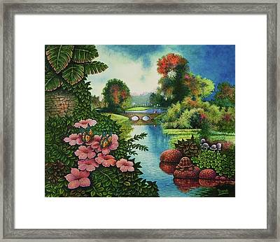 Framed Print featuring the painting Lazy Stream by Michael Frank