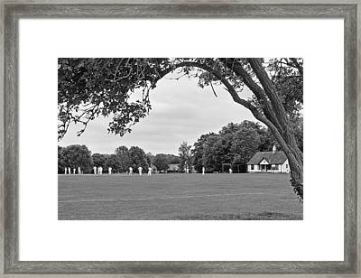 Lazy Sunday Afternoon - Cricket On The Village Green Bw Framed Print by Gill Billington