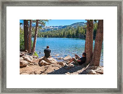 Lazy Sunday - Scenic View Of Mammoth Lakes In California With People Relaxing And Fishing. Framed Print