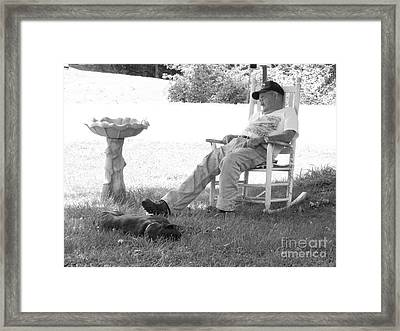 Lazy Weekend Resting Bw Framed Print by Angelia Hodges Clay