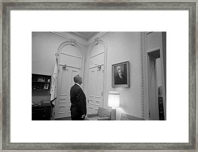 Lbj Looking At Fdr Framed Print by War Is Hell Store