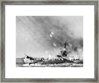 Lci Firing On Okinawa Framed Print by Underwood Archives