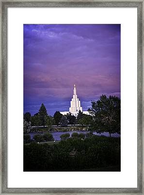 Lds Temple Of Idaho Falls Framed Print