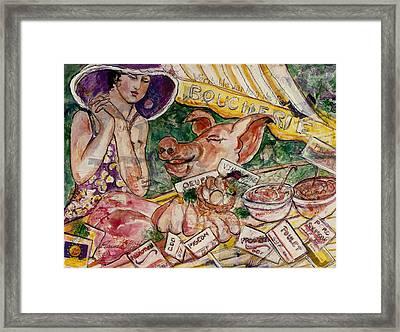Framed Print featuring the painting Le Boucherie by Elaine Elliott