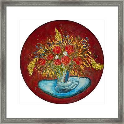 Le Bouquet Rouge - Original For Sale Framed Print by Bernard RENOT