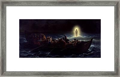 Le Christ Marchant Sur La Mer Framed Print