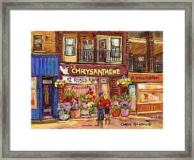 Le Chrysanthe Fleuriste Verdun Flower Shop Rue Wellington Montreal Paintings Verdun Street Scene Art Framed Print by Carole Spandau