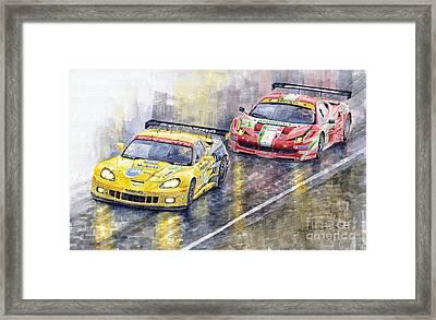 Le Mans 2011 Gte Pro Chevrolette Corvette C6r Vs Ferrari 458 Italia Framed Print by Yuriy  Shevchuk