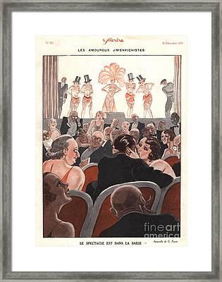 Le Sourire 1930s France Glamour Kissing Framed Print