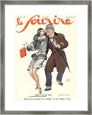 Le Sourire 1930s France Glamour Lechers Framed Print