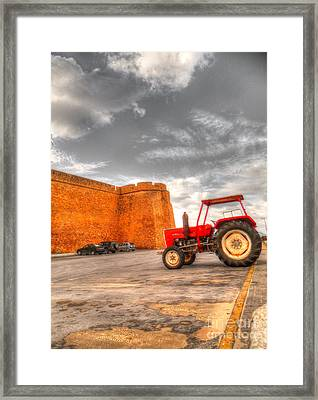 Le Tracteur Rouge Framed Print