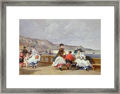 Le Treport, 1867 Oil On Canvas Framed Print by Jules Achille Noel
