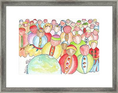 Moutons De Panurge / Following The Herd Framed Print by Dominique Fortier
