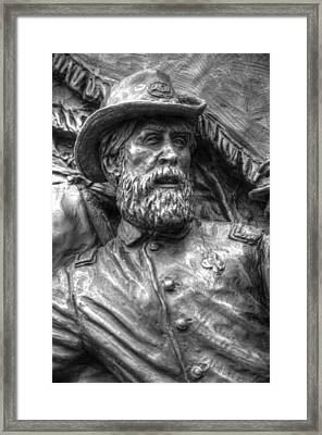 Lead From The Front.  State Of Delaware Monument Detail-n Gettysburg Autumn Mid-day. Framed Print