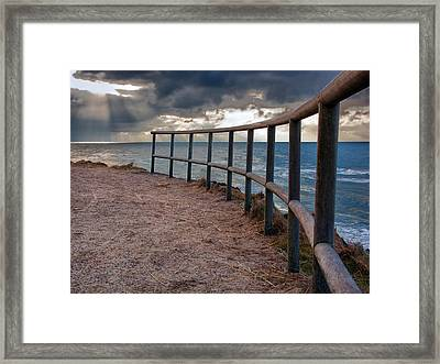 Rail By The Seaside Framed Print