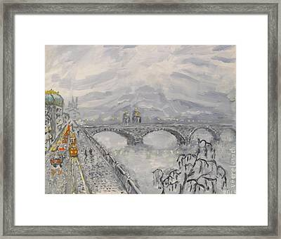 Leaden Winter In Golden Prague  Framed Print by Victor Berelovich