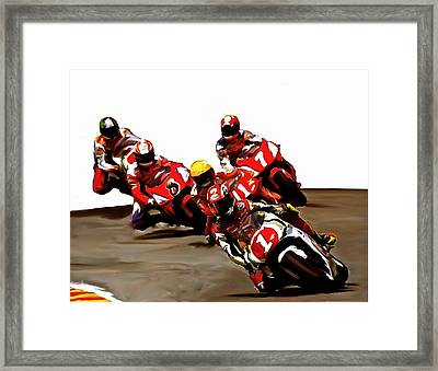 Leading The Pack II  Kevin Schwantz Framed Print by Iconic Images Art Gallery David Pucciarelli