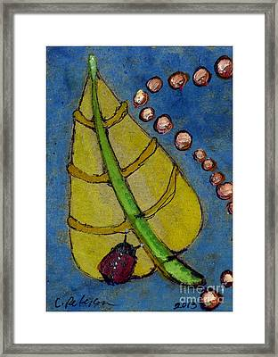 Leaf And Ladybug Series No. 2 Framed Print by Cathy Peterson