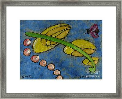 Leaf And Ladybug Series No. 5 Framed Print by Cathy Peterson
