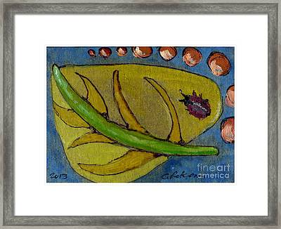 Leaf And Ladybug Series No. 8 Framed Print by Cathy Peterson