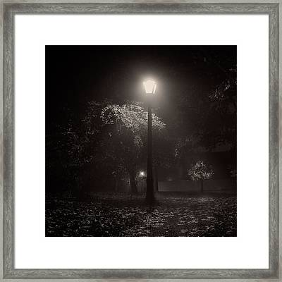 Leaf Covered Path At Night Square Framed Print by Chris Bordeleau