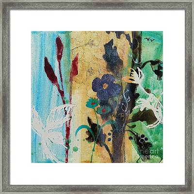 Framed Print featuring the painting Leaf Flower Berry by Robin Maria Pedrero
