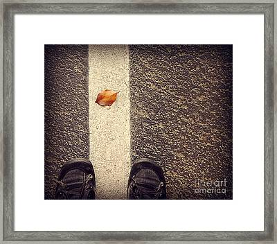 Framed Print featuring the photograph Leaf On The Line by Meghan at FireBonnet Art