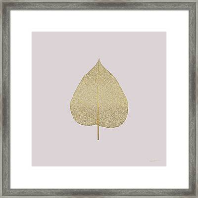 Leaf Veins Skeleton - Leaf Structure In Gold On Champagne Glass Pink  Framed Print by Serge Averbukh