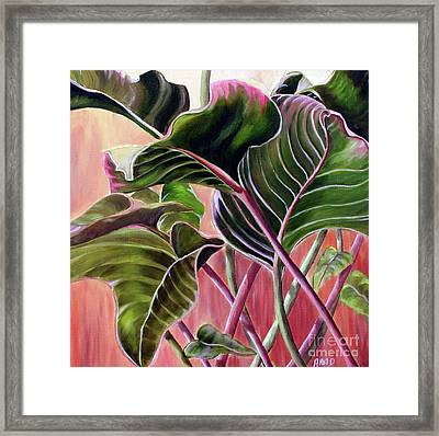 Framed Print featuring the painting Leafy by Anna-Maria Dickinson
