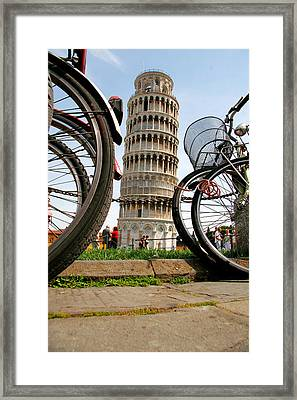 Leaning Bicycles Of Pisa Framed Print by Peter Tellone
