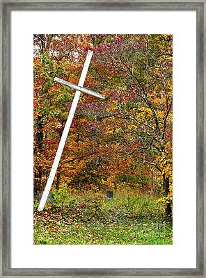 Leaning Cross And Gravestone Framed Print by Thomas R Fletcher